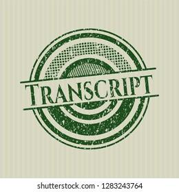 Green Transcript distress grunge style stamp