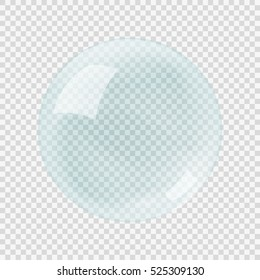 Green transparency soap air bubble on the grey transparency background, vector illustration