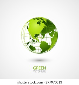 Green transparent globe isolated in white background. Vector icon.