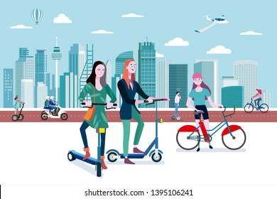 Green transport in a smart city. People riding eco transport vehicles in an smart and modern city. Easy to edit and customize. Vector illustration.