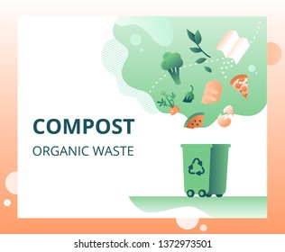 Green trash can and falling organic waste (vegetables, paper, leaves, food) for composting. Waste recycling concept for landing page, template, ui, web. Vector illustration