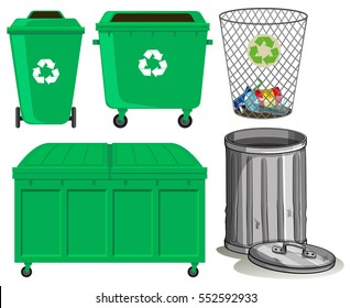 Green trashcans with recycle sign illustration