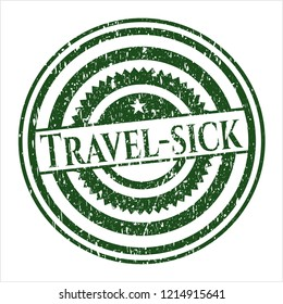 Green Travel-sick distress grunge style stamp