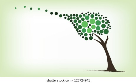 Green tree blowing in the wind