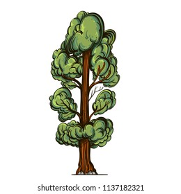 Green tree in cartoon style. Landscape element for game design and animation. Vector illustration isolated on white background.