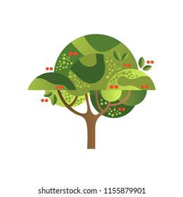 Green tree with cherries, garden plant with red ripe berries vector Illustration on a white background