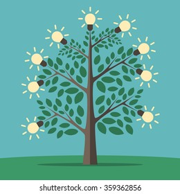 Green tree of creative ideas with glowing light yellow lightbulbs. Insight, inspiration, idea, invention and breakthrough concept. Flat style. EPS 8 vector illustration, no transparency