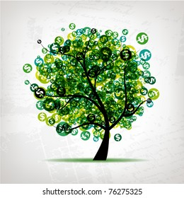 Green tree with dollars leaf on grunge background