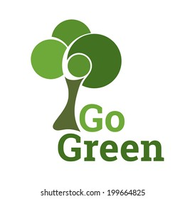 Green Tree Eco Symbol. Fully scalable vector illustration.