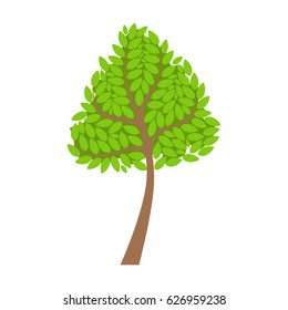 Green tree, element of a landscape. Colorful cartoon vector Illustration