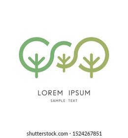 Green tree family logo - big plants and small sprout symbol. Heredity and variability, genetics and selection, mother, father and child vector icon.