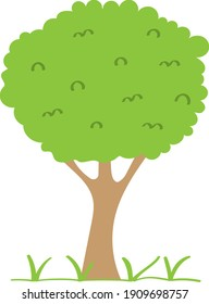 Green tree - fruit tree painted in the modern doodle style, coloring book for children. Icon for garden magazine, outline drawing symbol.