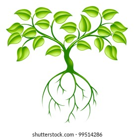 Green tree graphic design concept with long roots