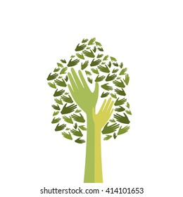 Green Tree With Hand Logo Icon Flat Vector Illustration