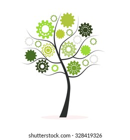 Green tree with hand prints vector background