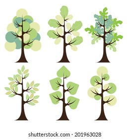 green tree icon set