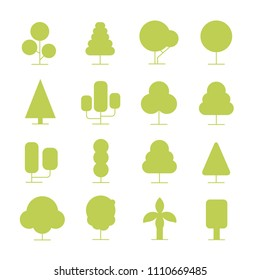 green tree icons set