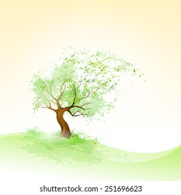 green tree with leaves blowing wind and brown bark vector illustration