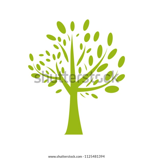 Green tree with leaves flat vector illustration. Minimalistic tree growing icon. Nature and ecology symbol. Environment friendly concept. Happy healthy living. Planting new life logo. Earth protection