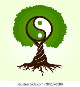 Green Tree of life, magic Buddhism dao  Yin Yang vector illustration