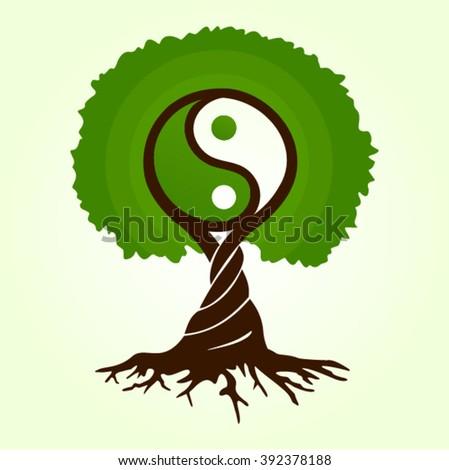 Green Tree Life Magic Buddhism Dao Stock Vector Royalty Free