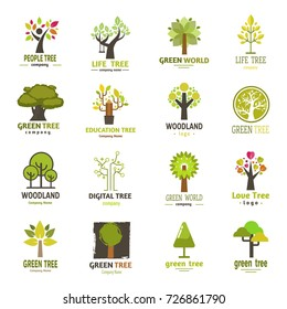 Green tree logo badge green silhouette for company nature eco emblem design collection vector.