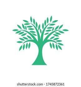 Green tree logo. Big tree vector icon. Stock illustration