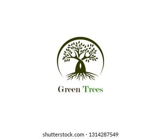 Green tree logo ecology nature vector