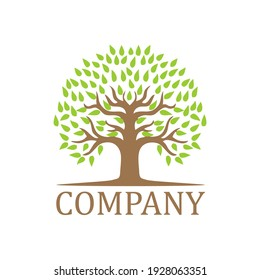 Green Tree Logo with Leaves. Vector outline Illustration.