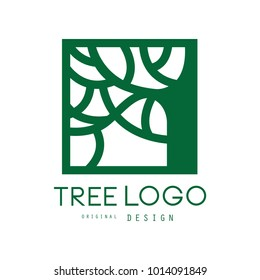 Green tree logo original design, green eco square badge, abstract organic element vector illustration