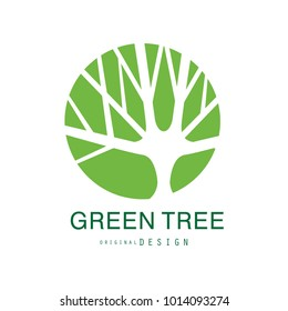 Green tree logo original design, eco and bio badge, abstract organic design element vector illustration