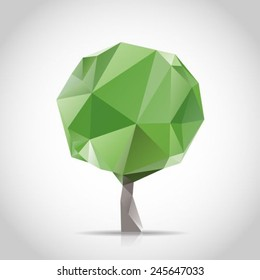 Green Tree Made By Triangles Polygon