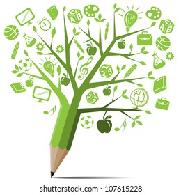 Green tree pencil with back to school concept.