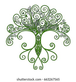 Green tree with roots. Vector abstract Illustration.