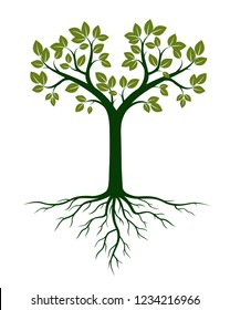 Green Tree and Roots. Vector Illustration. Plant and Garden.
