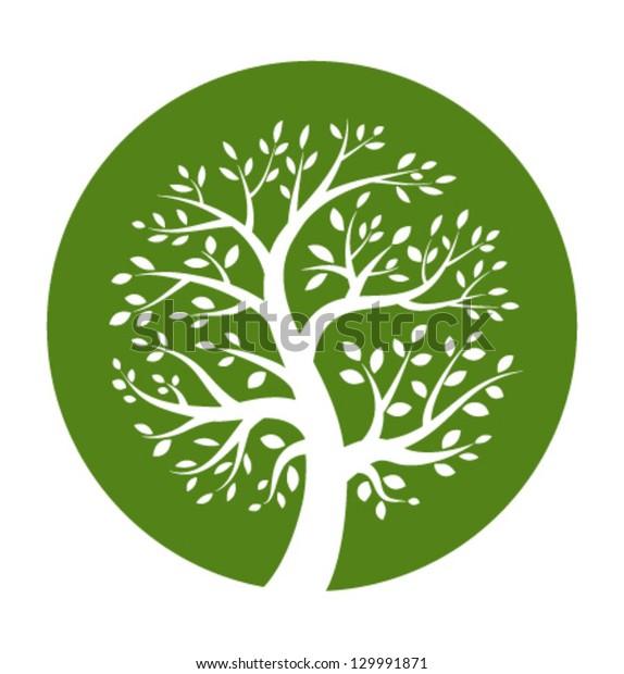 Green tree round icon, vector illustration logo