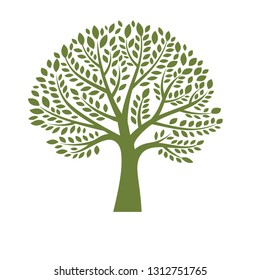 Green tree silhouette on white background, logo design template. Eco vector sign. Plant, nature and ecology- Vector