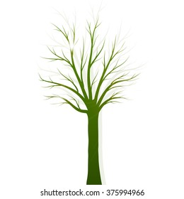 Green tree silhouette on white background vector