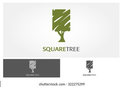 The green tree square vector logo design