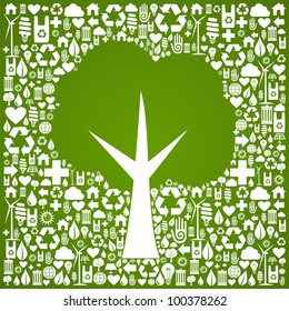 Green tree symbol over eco icons background. Vector file available.
