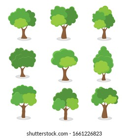 Green tree, A variety of forms on the White Background,Set of various tree sets,Trees for decorating gardens and home designs.vector illustration and icon