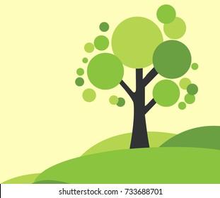 Green tree vector illustration in green land