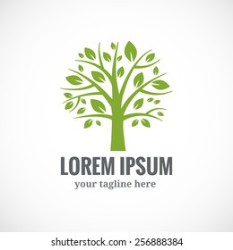 Green tree vector logo design template. Plant, nature and ecology
