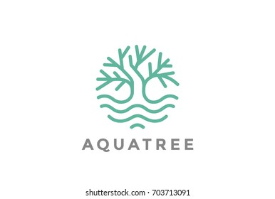Green Tree in water abstract Logo design vector template Linear style. Garden Plant nature Logotype. Forest concept icon circle shape.