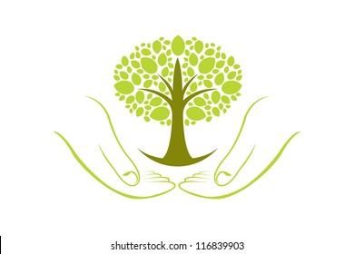 Green Tree Wellness Hands Illustration