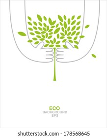 Green tree in your hands. Environmental