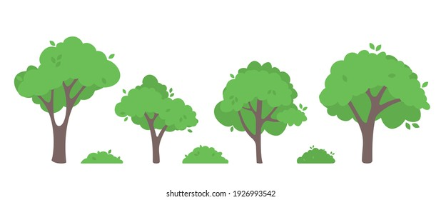 Green trees flat vector illustration. Beautiful green leaves isolated on white. Spring time trees. Natural forest plant. Ecology garden template.