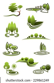 Green trees in landscapes icons with stylized rows or stands of trees in swirling scenery, vector illustration on white