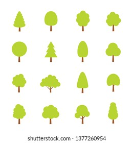Green trees set. Flat style. Flat forest tree icon - stock vector.