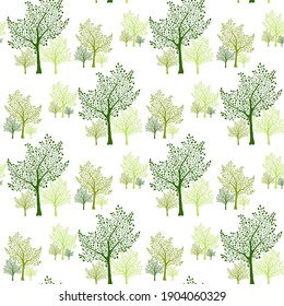 Green trees silhouettes forest seamless pattern vector illustration. Textile print design. Green trees isolated background. Seamless pattern of trees with branches and leaves.